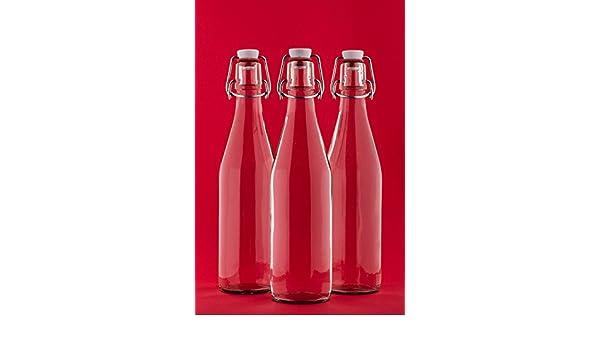 6 botellas vacías de vidrio a 250 ml con tapón de la fábrica slkfactory: Amazon.es: Hogar