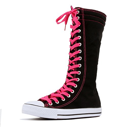 Women's Tall Canvas Lace Up Knee High Casual Sneakers - Various Length (5 M US, HotPink-Short)