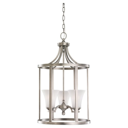 Sea Gull Lighting 51375-965 3-Light Hall and Foyer Fixture, Satin Etched Glass Shades and Antique Brushed Nickel