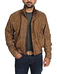 Mens Bomber Blouson Style Classic Antique Leather Jacket Robert Brown