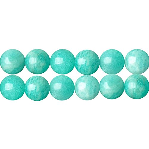 Genuine AAA Blue Green Amazonite Earth Mined Gemstone Round 6mm Loose Beads for Fashion Jewelry Gift Craft and Home Decoration Making One Strand 15 Inch Apx 60 Pcs (Mined Gems)