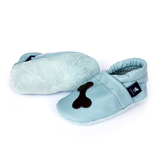 Pantau Leder Krabbelschuhe Lederpuschen Babyschuhe Lauflernschuhe mit Hund und Knochen, 100% Leder HELLBLAU_DUNKELBRAUN