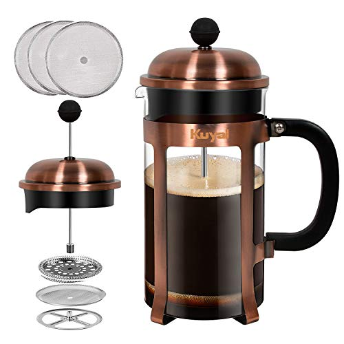 Glass French Press Coffee Tea Maker (34 oz, about 8 cups), 1000 ml Stainless Steel Coffee Press with 3 Extra Filter…