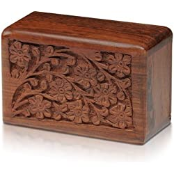 Urn for Pets - Hand-Carved Rosewood Urn - Classic Wooden Series for Dogs, Cats, and Animals (Large)