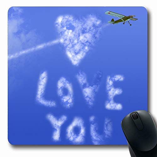 Ahawoso Mousepads Effect Blue Writing Love You Message Sky Text Holidays Airplane Aviation Cloud Heart Romance Smoke Oblong Shape 7.9 x 9.5 Inches Non-Slip Gaming Mouse Pad Rubber Oblong Mat (Best Flirting Text Messages)