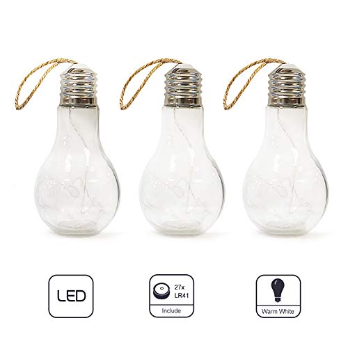 MJ PREMIER Glass Bulb Shape String Lights Edison Blub Design Battery Operated 10 LED Hanging Lights for Home Decor Holiday Party Wedding Indoor Outdoor Decoration (3 Pack, Clear)