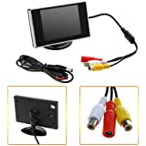 HDE Visual Reversing 3.5 Rear View LCD Monitor for Car Back Up Camera Screen TFT Dashboard Mount