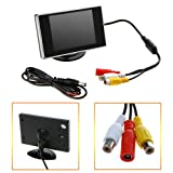 HDE Visual Reversing 3.5'' Rear View LCD Monitor for Car Back Up Camera Screen TFT Dashboard Mount