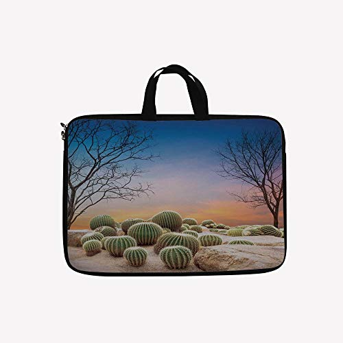 3D Printed Double Zipper Laptop Bag,Spikes on a Montain Desert Sand Mexican Landscape,10 inch Canvas Waterproof Laptop Shoulder Bag Compatible with 9.7