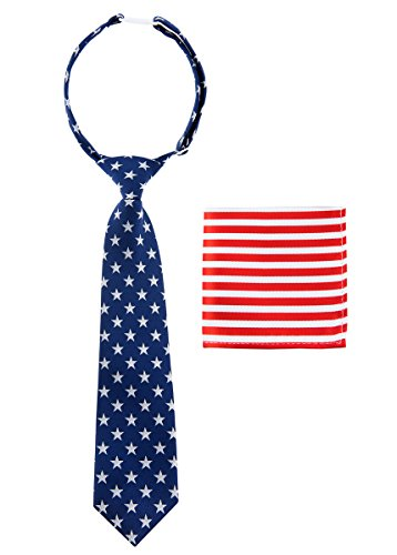 Canacana US Flag Old Glory Woven Microfiber Pre-tied Boy's Tie with Stripes Pocket Square Gift Box Set - Blue, Red, White - 24 months - 4 years, Christmas gift