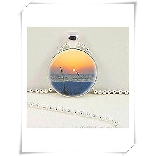 97247f91c864 De bajo costo Tropical Sunset foto colgante joyas baldosas de cristal collar