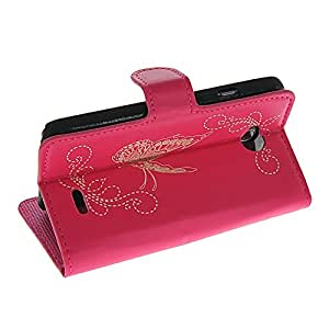CASESHOP Butterfly Leather Wallet Card Pouch Side Flip Stand Back Case Cover For LG L70 Hotpink