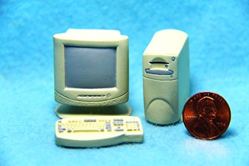 Dollhouse Miniature Computer Set with Monitor, Keyboard and CPU RA - My Mini Fairy Garden Dollhouse Accessories for Outdoor or House (Keyboard Cpu)