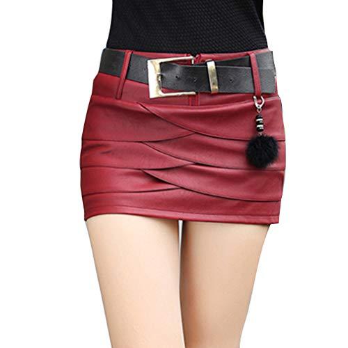 Hibote Femme PU Jupe en Cuir Femmes Mini Jupe Taille Haute avec Ceinture Jupe Crayon Irrgulire Jupe De Soire Tendance Look Jupe Rouge 1