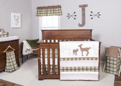 Trend Lab Deer Lodge 10-Piece Complete Crib Bedding (Sage Velour Receiving Blanket)