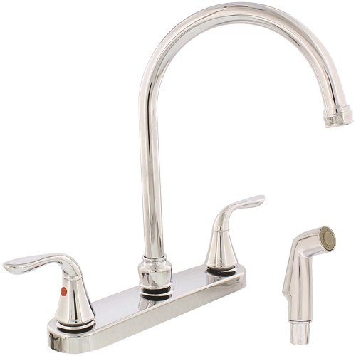 Aqua Plumb 1558030 CUPC AB1953 8-Inch Two-Handle Polished Chrome Gooseneck Spout Kitchen Faucet with Matching Spray ()