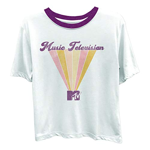 MTV Ladies Short Sleeve Shirt - #TBT Ladies 1980's Clothing - I Want My Ringer Tee (White Ringer, Small) ()