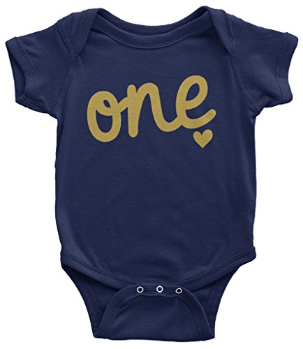Bodysuit Birthday (Threadrock Baby Gold One Year Old Birthday Infant Bodysuit 18 Months Navy)