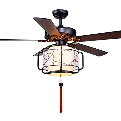 (52'' Ceiling Fan Light Vintage Asian Style Ceiling Fan Light Remote Controlled Wooden Blade Ceiling Fan Light Ultra Quiet Fan Interior Decoration Ceiling Fan,Black)