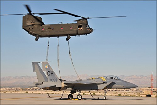 24x36 Poster . Ch-47 Chinook Helicopter Nevada National Guard F-15A Eagle - F-15a Eagle