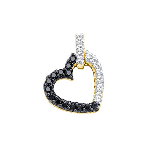 - Brilliant Bijou 10kt Yellow Gold Womens Round Black Colored Diamond Dangling Heart Pendant 1/3 Cttw