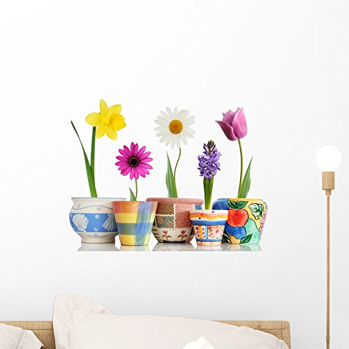 Wallmonkeys Colorful Spring Flowers in Fun Ceramic Containers Wall Decal Peel and Stick Graphic WM65220 (18 in W x 14 in H) by Wallmonkeys