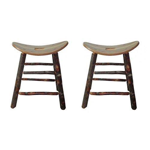 Hickory Rustic Bar Stool - SADDLE SEAT ALL HICKORY BAR STOOL (SET OF 2) (30