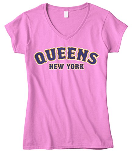 Cybertela Women's Queens New York NY Fitted V-Neck T-Shirt (Pink, ()