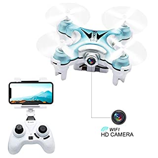 Mini Quadcopter Drone with Camera Live Video, EACHINE E10W Wifi FPV Mini Quadcopter with HD Camera Selfie Pocked Drone RTF - 3D Flip, APP Control, Headless mode, One-key Return, LED Lights