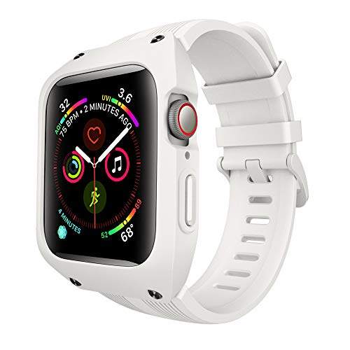 VANCHAN Compatible with Apple Watch Band Case 44mm Series 4 Series 5, Sport Soft Liquid Silicone Smartwatch Strap with Protective Cover for Iwatch Series 4/5 44mm (White)