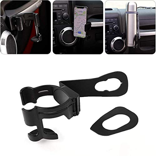 Jeep JK Multi-Function Drink Cup Phone Holder, Bolt-on Stand Bracket Organizer for 2011-2018 Jeep Wrangler JK Rubicon Sahara Sport 2/4 Doors ()