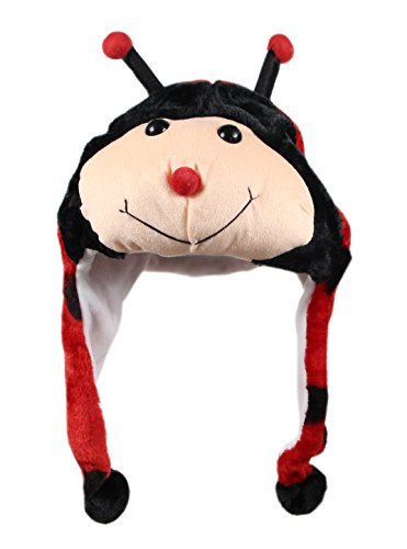 Bioterti Plush Fun Animal Hats –One Size Cap - 100% Polyester with Fleece Lining (Ladybug) -