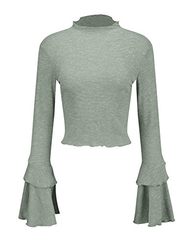 Army Bell (Yimeili Women's Knit High Neck Trumpet Flare Bell Sleeve Blouse Long Sleeve T-shirts Tops (M, Army green))