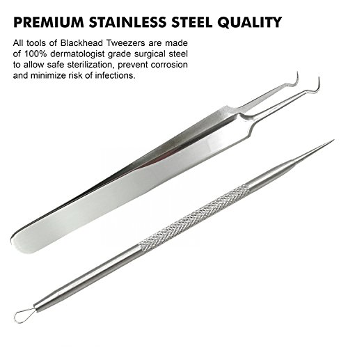 FIXBODY-Blackhead-Splinter-Remover-Tools-Stainless-Steel-Professional-Easily-Cure-Pimples-Whiteheads-Comedones-Acne-Zit-Ingrown-Hairs-and-Facial-Impurities-Bend-Head-Tweezer-Surgical-Kit
