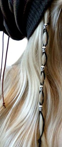 Ginga's Galleria Bead Leather Hair Ties Wraps Hair Jewelry Black Suede (Silver - Stores Galleria