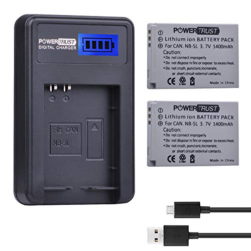 (PowerTrust 2-Pack 3.7v 1400mAh NB-5L Battery and LCD USB Charger for Canon PowerShot S100, S110, SD700 IS, SD790 IS, SD800 IS, SD850 IS, SD870 IS, SD880 IS, SD890 IS, SD900 IS, SD950 IS, SD970 IS, SD9)