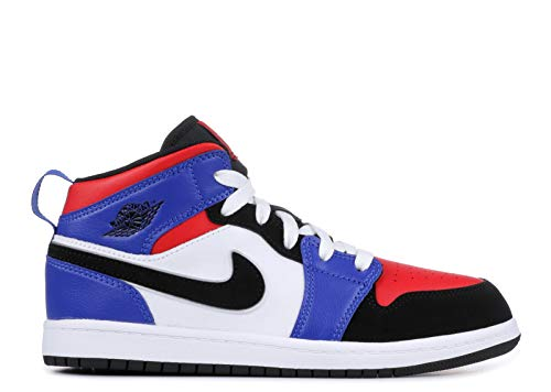 Nike Boy's Jordan 1 Mid (PS) Pre-School Shoe White/Black-Hyper Royal, 13 M US Little Kid