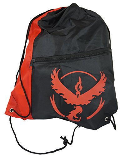 Pokemon Go drawstring bag cinch gym zipper carrier tote valor mystic instinct (Valor Red)