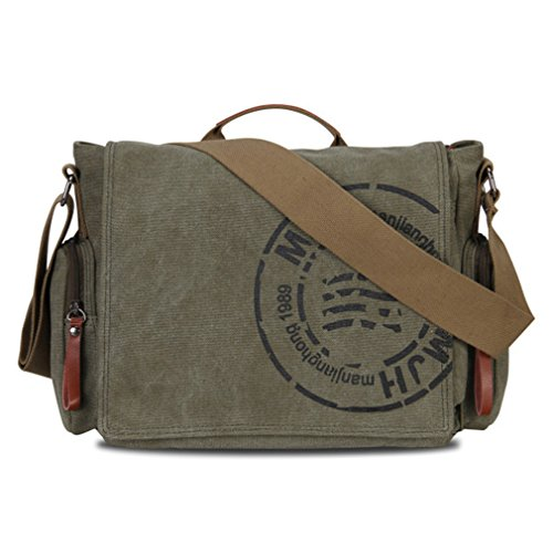 Zeroral Men's Messenger Bags Canvas Shoulder Business Crossbody Bag Printing Travel Handbag Army Green W39H28D14 CM