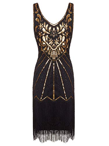FAIRY COUPLE Women's 1920s Flapper Dress Gatsby Dress V Neck Beaded Fringed Dress Club Dress D20S020(M,Black Gold) -