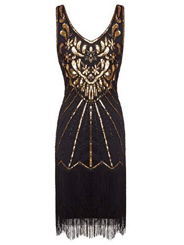 FAIRY COUPLE Women's 1920s Flapper Dress Gatsby Dress V Neck Beaded Fringed Dress Club Dress D20S020(M,Black Gold)