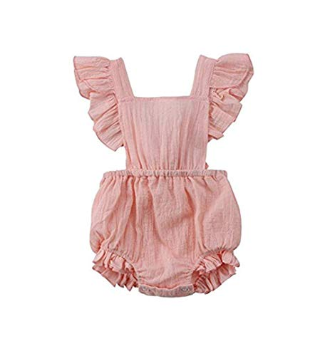 - C&M Wodro Infant Baby Girl Bodysuit Sleeveless Ruffles Romper Sunsuit Outfit Princess Clothes (Pink, 6-12 Months)