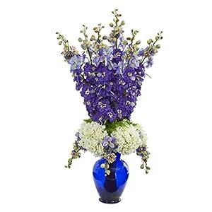 Artificial Flowers -Delphinium and Hydrangea Purple Arrangement in Blue Vase 116