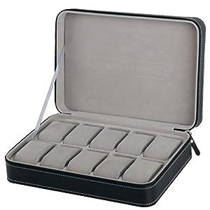 Homeater 10 Slot Watch Box Portable Travel Zipper Case Collector Storage Jewelry Storage Box(Black)