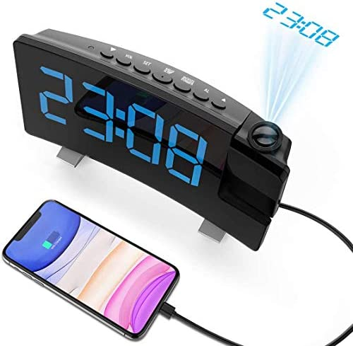 Senli Projection Alarm Clock, 15 FM Radio Digital Clock, Dual Alarms with Snooze, Sleep Timer, 6 Dimmer, 7 Large Curved Screen, USB Phone Charging Port, 180 Adjustable Ceiling Projection Clock
