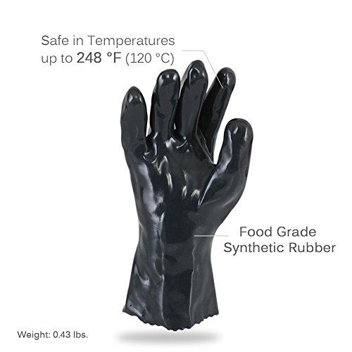 NutriChef PKGLV05 Barbecue BBQ Grilling Food Gloves Black