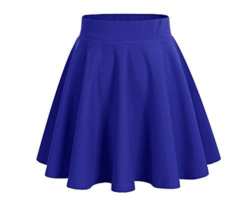 Scothen Basic solide polyvalent tirable Mini informel des femmes jupe vase fille Basic solide polyvalent Jupe patineuse vase Jupes plisses jersey Jupe patineuse Bleu