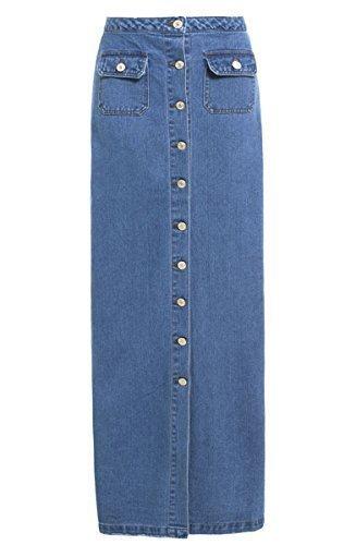 8 Bleu Femmes Pour Tailles Ss7 16 Maxi Jeans Jupe Neuf U0npAqfp