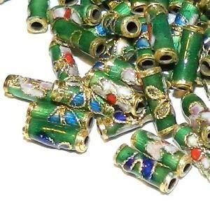 Steven_store CL136 Dark Green 9mm Round Tube Enamel Overlay on Metal Cloisonne Beads 25pc Making Beading Beaded Necklaces Yoga - Beads Round Cloisonne Flat