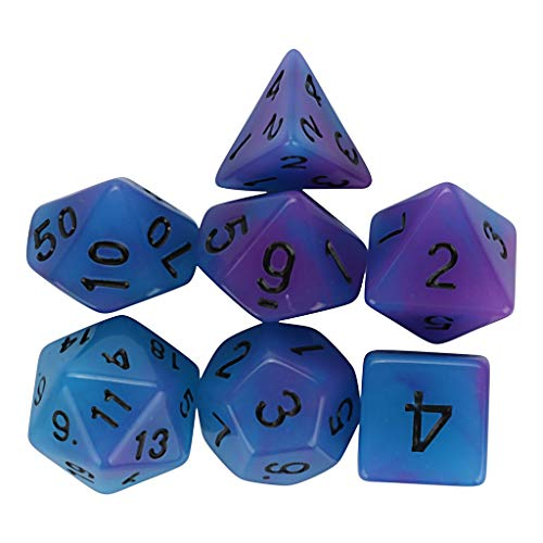 Molyveva 7 Pcs Set Resin Dice Table Polyhedral D4-D20 Multi Sided Acrylic Luminous Dice for TRPG Game Dungeons & Dragons Party Favors Dice Games Toy Gifts or Teaching Kids ()